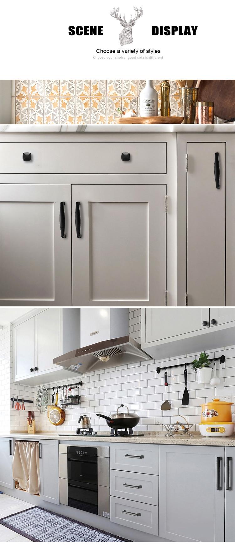 KAK американский стиль черный шкаф ручки цельный алюминиевый сплав кухонный шкаф ручки для выдвижных ящиков оборудование для обработки мебели