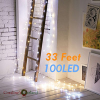 33FT 10M 100 Led Battery Operated String Lights Copper Wire Fairy Lights String For Wedding Party