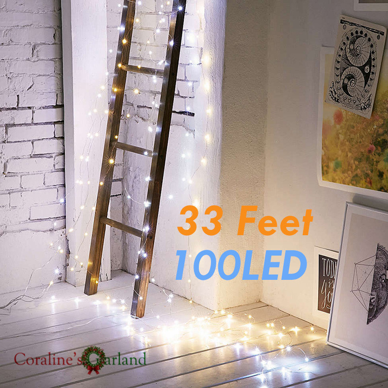 10M 100 LED Battery String Lights Silver Wire Fairy Light String For Christmas Party Holiday Wedding Garden Decoration