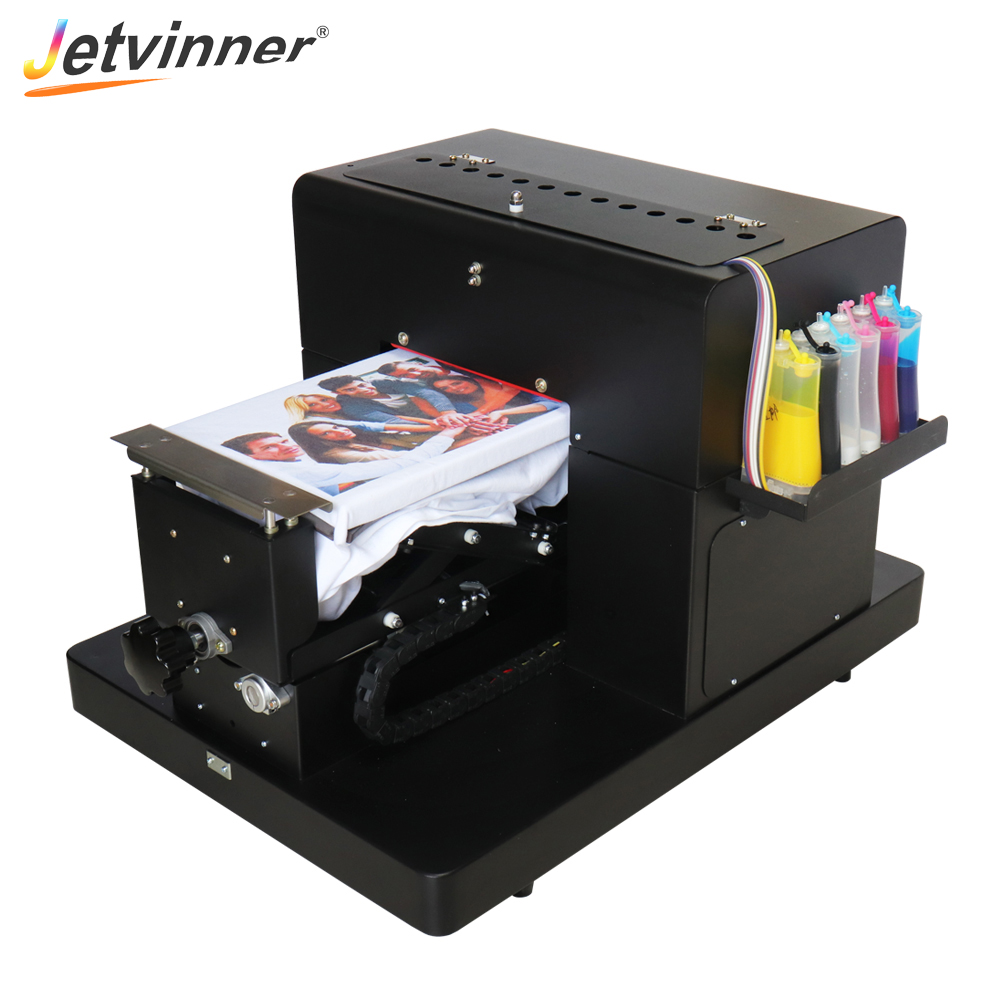 Jetvinner 2018 A4 size flatbed printer machine for print dark color T shirt directly clothes phone
