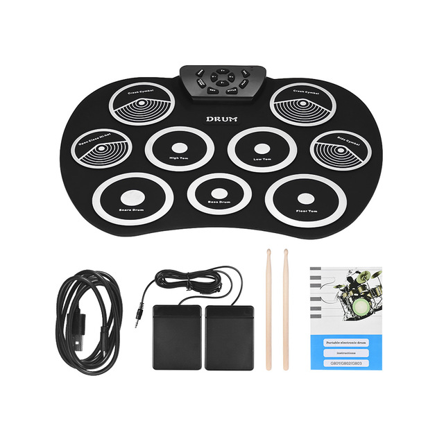 US $28 69 40% OFF|Roll Up Drum Kit 9 Pads Electronic Drum Set USB Powered  with Foot Pedals Drumsticks USB Cable for Students Kids-in Drum from Sports