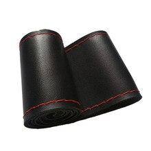 אוניברסלי רכב הגה כיסוי סיבי עור עם רך אנטי להחליק שחור DIY צמת & מחטי חוט Fit עבור 38cm קוטר