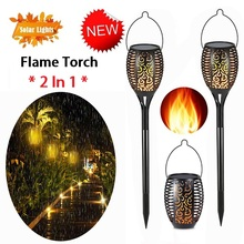 2 In 1 Solar Flame Flickering Lawn Lamp Multifunction 1/2/4Pcs Bright LED IP65 Waterproof Outdoor Decor Garden Light