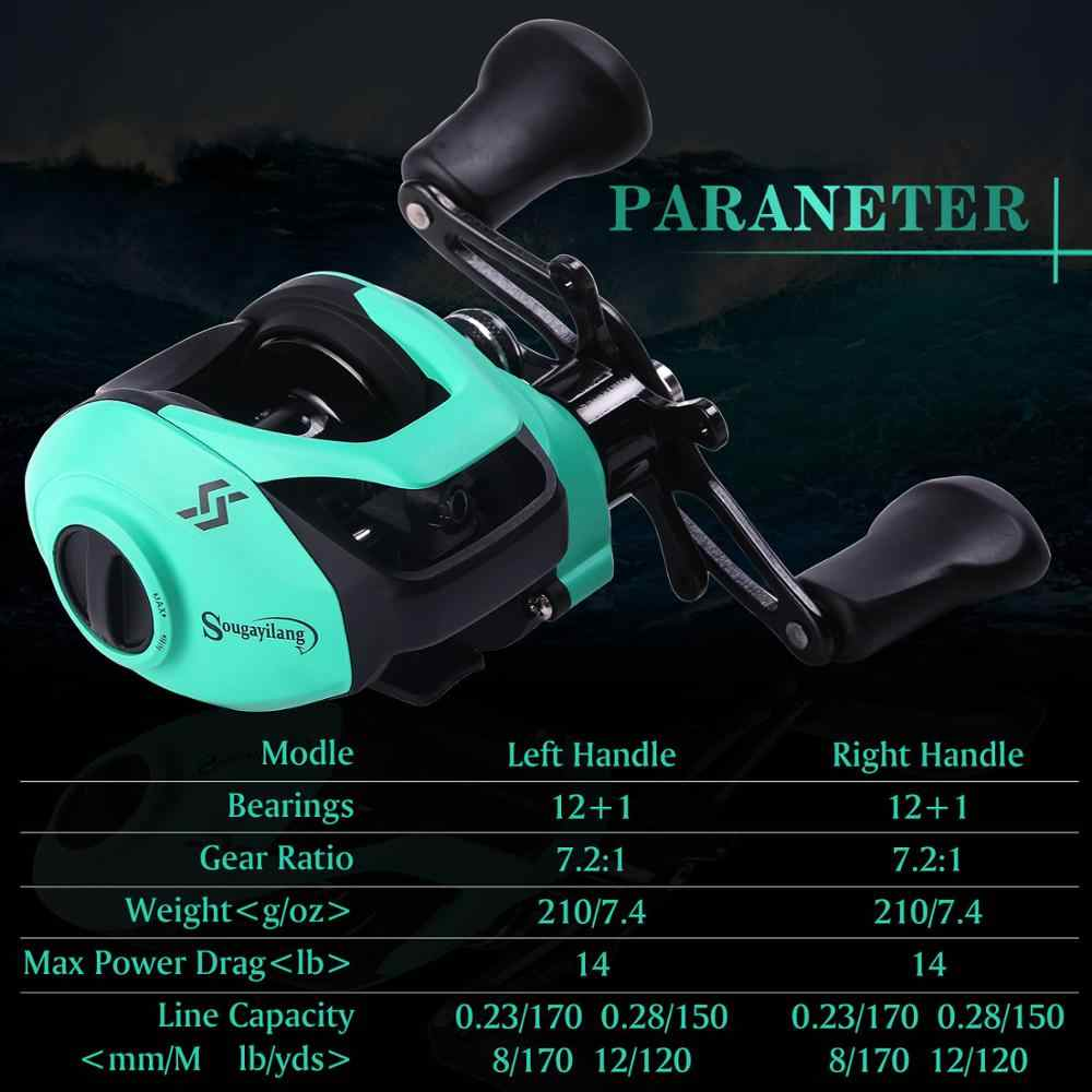 Sougayilang 12 + 1BB moulinet de pêche 7.2: 1 haute vitesse forte puissance de traînée 8kg droite/gaucher carpe roues de pêche pêche suivi
