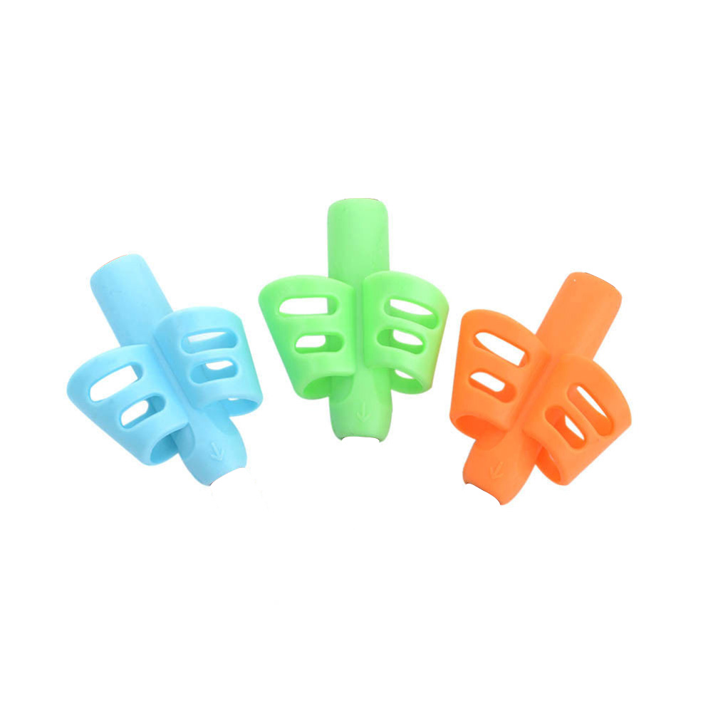 Posture Correction Ergonomic Soft Silicone Grip Training Tools Non-toxic Writing Aid Grip Two Finger Children Pencil Holder