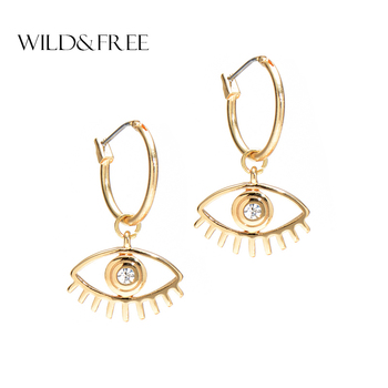 Wild & Free Women Punk Eyes Dangle Earrings Fashion Zinc Alloy Gold Color Circle Big Eye Charming Earring Bohemian Jewelry