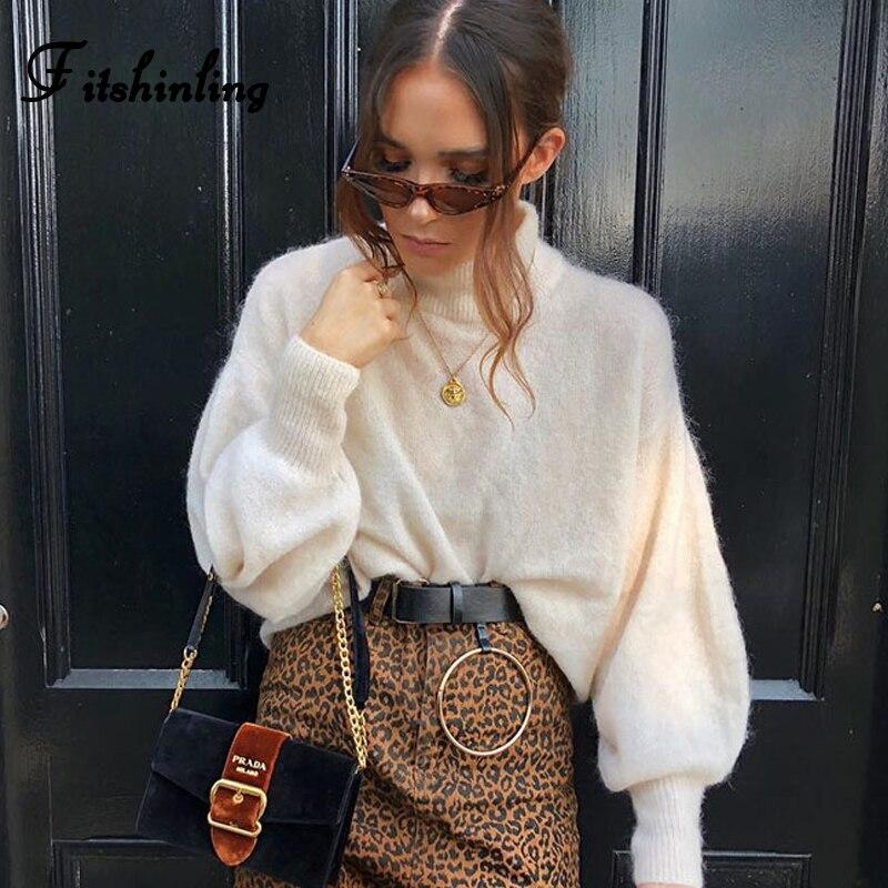 46e901a1cd Fitshinling Mohair turtleneck sweaters women pullovers lantern sleeve fuzzy  2019 beige jumper fashion sweaters ladies knitwear-in Pullovers from  Women s ...