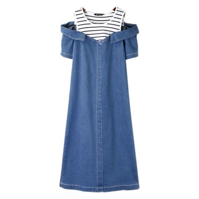 56ba90d3c9 Denim Dress Female Vestido Jeans Dress Women Summer Korean Dresses Off  Shoulder Party Clothes 2019 Robe Femme Vintage Patchwork