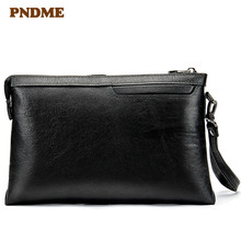 Mens cowhide business clutch bag large capacity mens leisure leather handbag