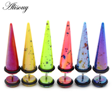 Alisouy 2pcs UV Acrylic Ear Fake Cheater Stretcher Taper Spike Cheater Plug Tunnel Expander Earrings Gauges Body Jewelry