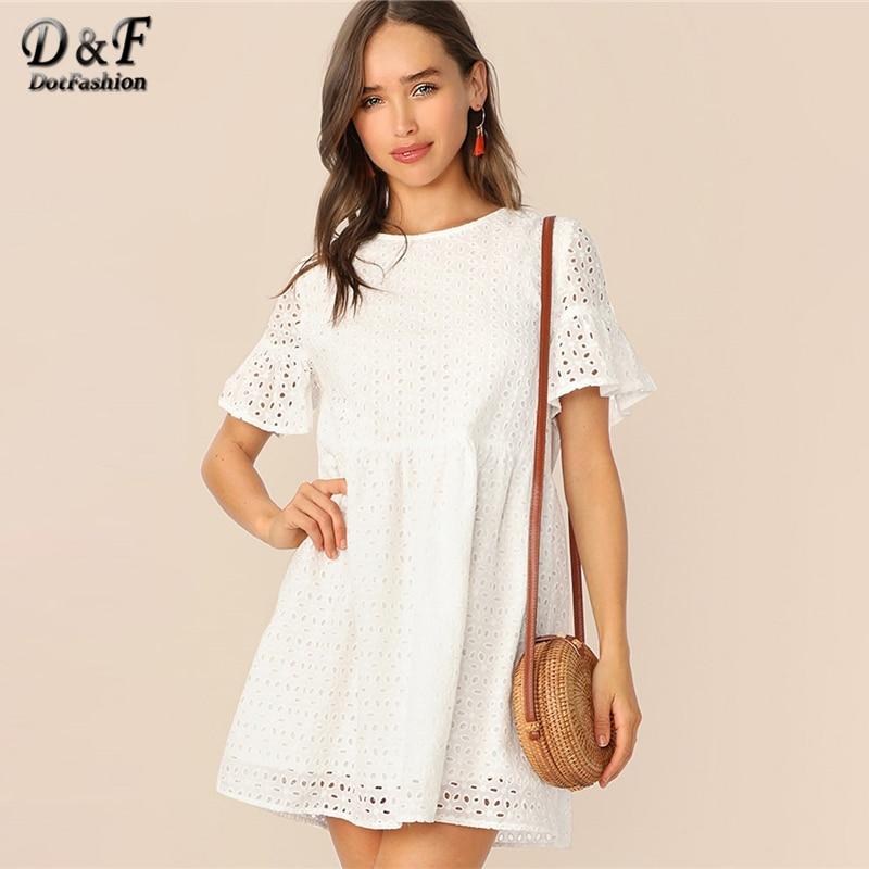 Dotfashion белый оборка рукавом Твердые шиффи летнее платье 2019, женская обувь милые вышивка короткий рукав корейский короткое