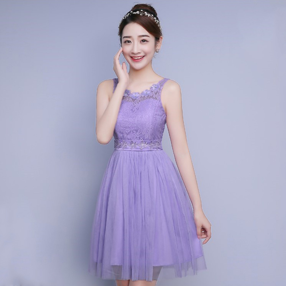 Online get cheap ladies bridesmaid dresses aliexpress 2017 new fashion women bridemaids dress short sleeveless floral lace chiffon dress bridesmaids dresses wedding party ombrellifo Image collections