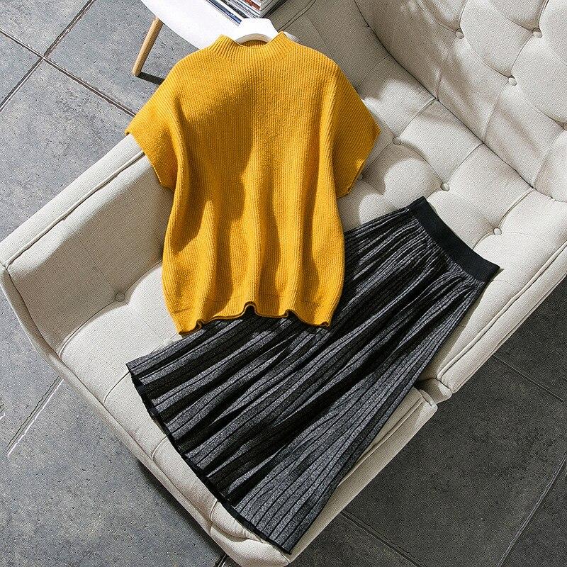 990104 Collier See Costume Hiver De Style Court 2018 Tricoté Épaule Nouveau Chart Chandail Jupe Manches jaune Pendule Mode Plissée IZw7qIan