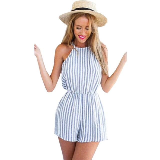 4cf3eae584c7 € 3.1 12% de DESCUENTO|Trajes de verano nuevo mono rayado azul Sexy Halter  arnés pieza pantalones cortos Falda Mujer monos ropa Vestidos LBD1067 en ...