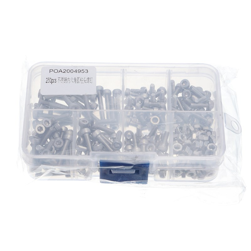 MTGATHER 250pcs M3 Stainless Steel Head Screws Bolts With Hex Nuts Assortment Kits Set 304 Stainless Steel Top Quality