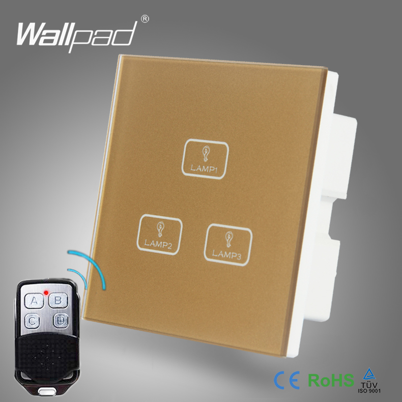 Smart Home 3 Gang Remote Best Quality Wallpad Gold Glass Switch LED 3 Gang Remote and Touch Light Switch For Lighting Control white 3 gang remote control light switch crystal glass screen switch wallpad luxury us au led touch switch with remote control