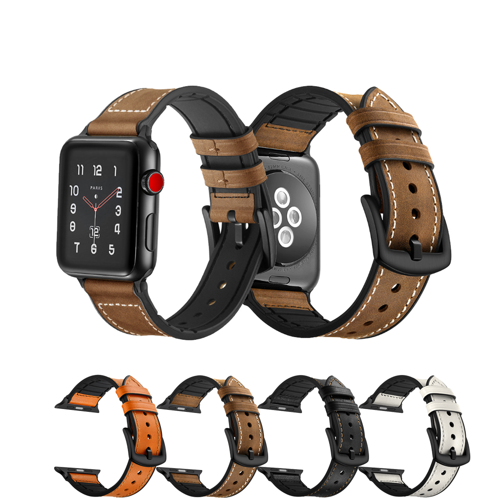 где купить CRESTED watch accessories Strap for Apple Watch band 42mm 38mm iwatch series 3/2/1 Genuine Leather+silicone bracelet wrist belt дешево