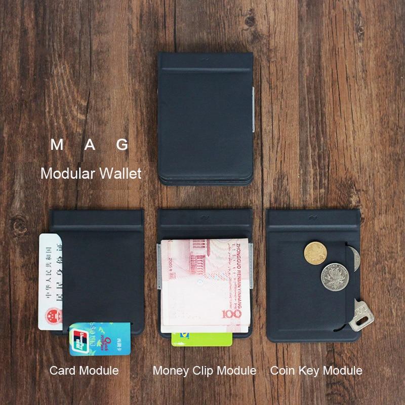 MAG Modular Wallet Magnetic User-Defined Card Wallet Card Holder Purse Men Travel Wallets