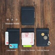 MAG Modulare Brieftasche Magnetische Benutzer Definiert Karte Brieftasche Karte Halter Geldbörse Männer Reise Brieftaschen
