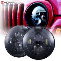 For Lada 4x4 urban Niva suzuki samurai 7 black LED H4 headlight light lamps headlamp for Jeep Wrangler Land Rover Defender