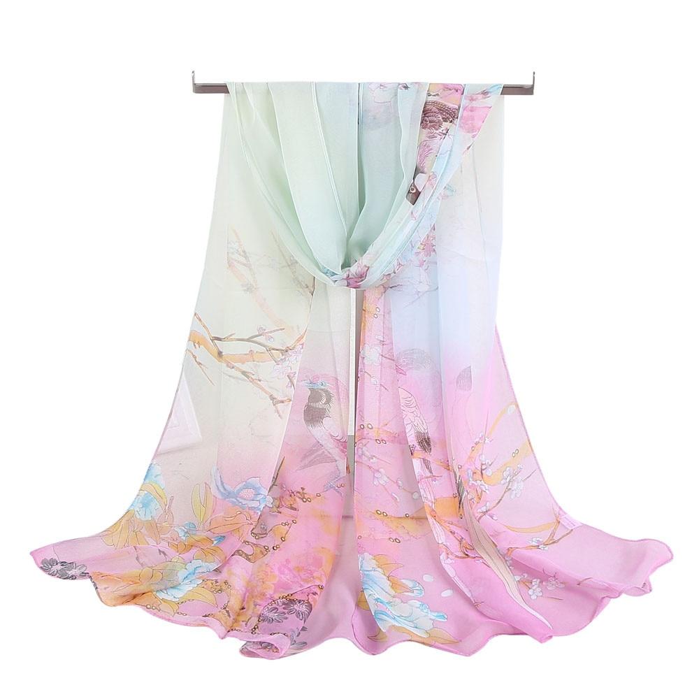 Beach Women Soft Thin Chiffon Silk Scarf Animal Bird Printed Decoration Scarves Wrap Shawl Smoothy and Clean Poncho Foulards