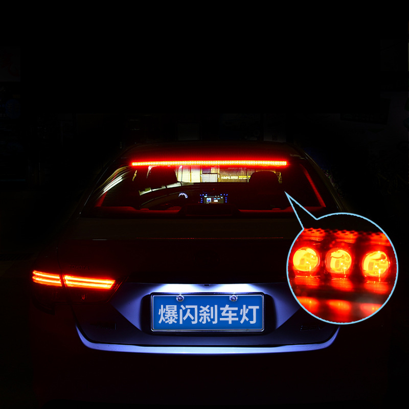 Super bright led tail lights modified high brake light high temperature resistant rear wind glass brake light flash lamp