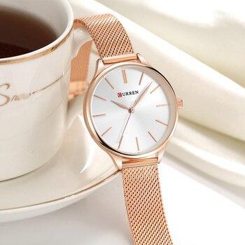 Relógio de quartzo, analógico, ouro rosa, de senhora Curren, modelo 9024