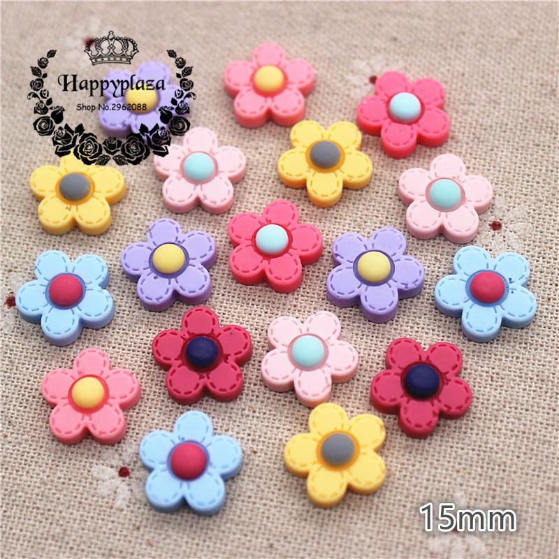 50PCS Mix Colors Cute Resin Little Five-Petal Flower Flat Back Cabochon DIY Jewelry/Craft Scrapbook Decoration,15mm