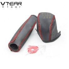 Vtear для hyundai Elantra рукоятки рычага КПП ручной тормоз шестеренки крышки интерьера аксессуар для автомобиля-Стайлинг ручной сшитый 2017