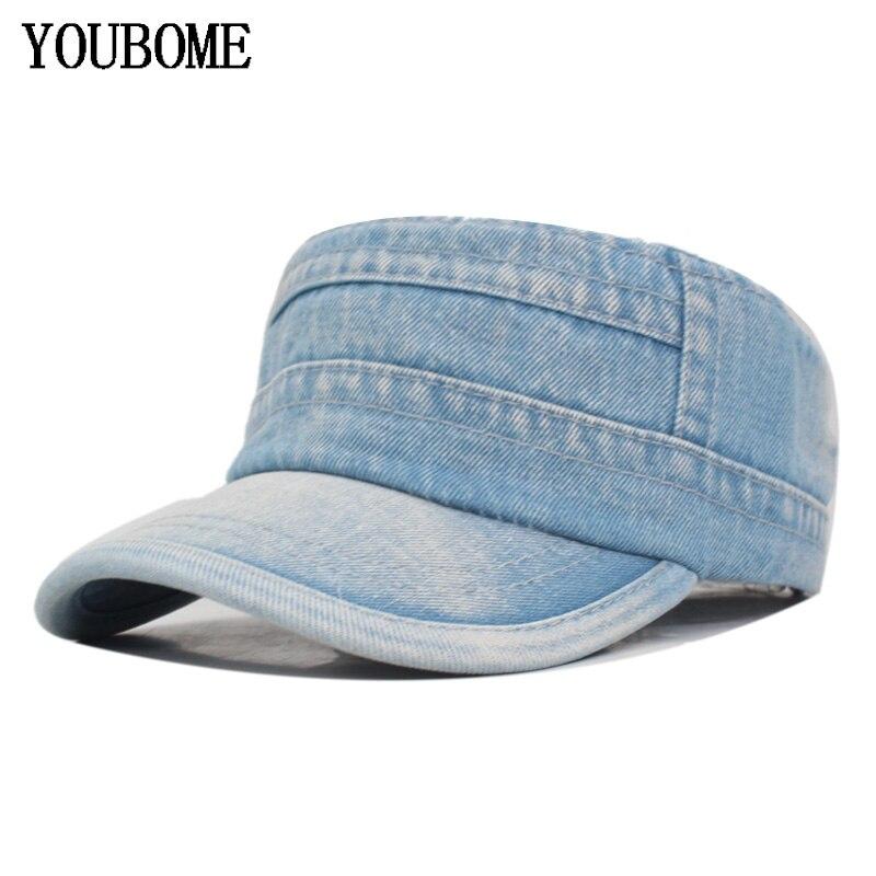 YOUBOME Homens Da Moda Chapéus Militares Mulheres Jeans Lavados calças de Brim Bonés de Beisebol Para Os Homens Snapback Gorras planas Plana Sólida Tampão Militar