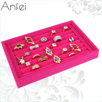 Free Shipping Quality Full Velvet Ring Plate Stud Earring Storage Box Jewelry Box Accessories Plaid Pavans