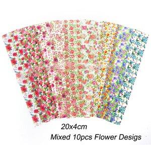 Image 5 - 10 stücke Blume Nail art Folien Transfer Slider Mixed Designs Rose DIY Aufkleber Decals Folie UV Gel Kleber Wraps Zubehör CH798