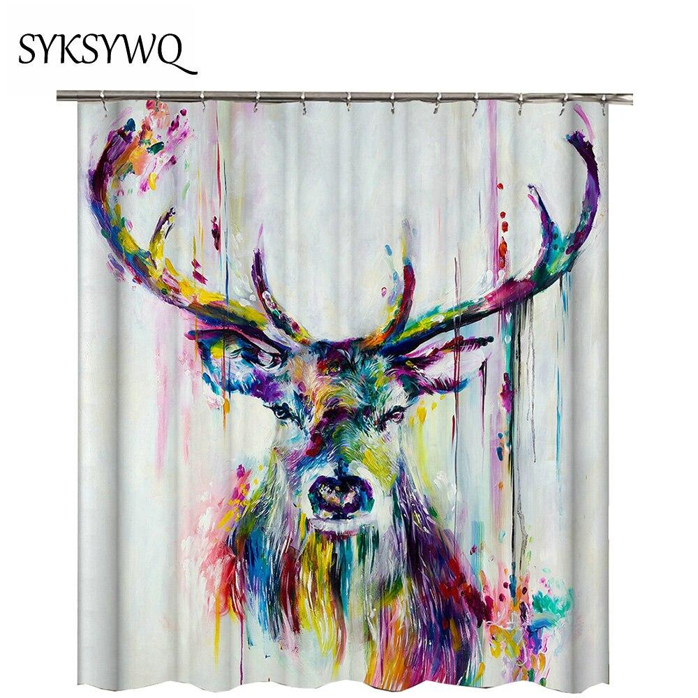 Retro Elk Shower Curtain Art New Arrival Woodland Deer Home Decoration Bathroom Waterproof