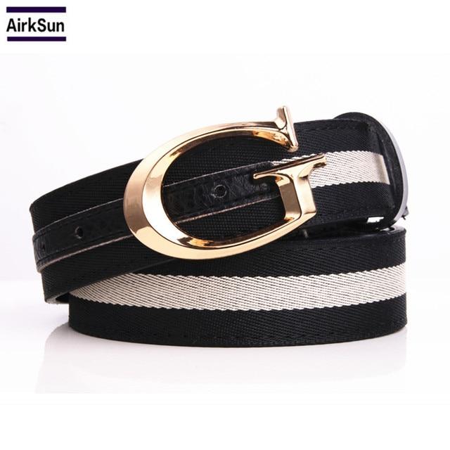 86b4f11db4b 2017 Gg Belt Leisure Belts Student Outdoor Sports high quality WOmen canvas  belts striped military