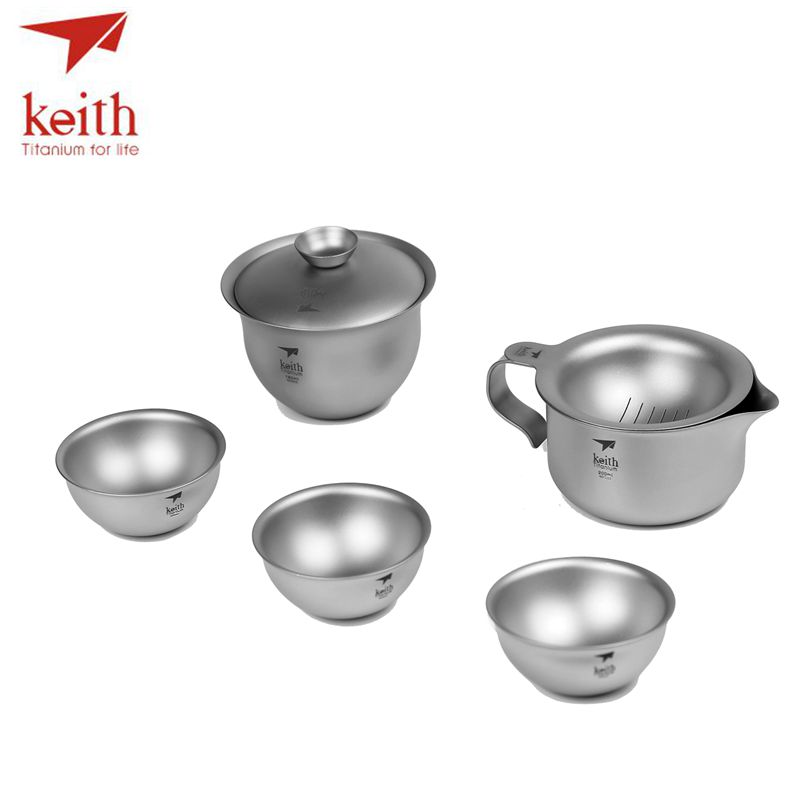 Keith Titanium 6Pcs In 1 Kong Fu Tea Set Portable Outdoor Camping Cup Drinkware Chinese Tea Set Ultralight Only 225g Ti3910 supply jingdezhen hand painted red lotus kung fu tea set bone china cup eggshell fair cup 4299