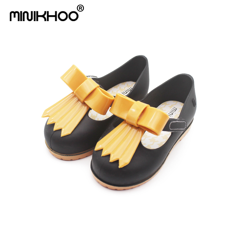 Mini Melissa 2018 New Casual Girl Jelly Shoes Double Color Bow Princess Shoes Sandals Wa ...
