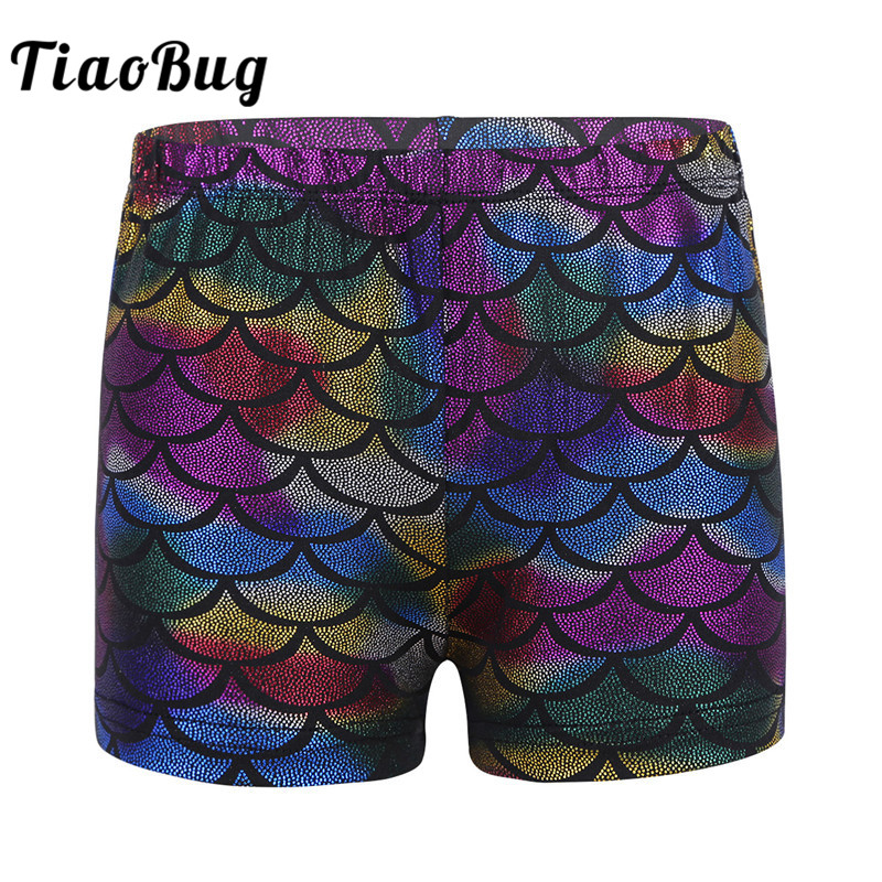 TiaoBug Kids Colorful Shiny Fish Scales Pattern Low Rise Dance Shorts Girls Workout Yoga Gymnastics Sports Shorts Dance Wear