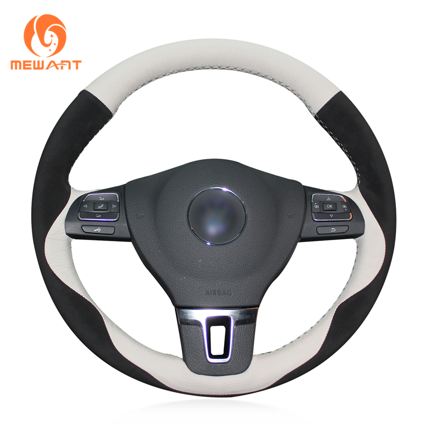 MEWANT White Genuine Leather Black Suede Steering Wheel Cover for Volkswagen VW Gol Tiguan Passat B7 Passat CC Touran Jetta Mk6 цена