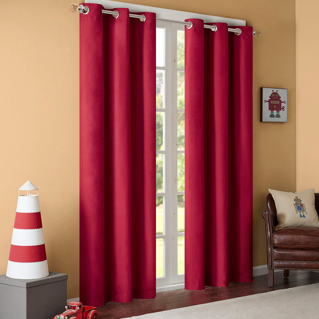 GIGIZAZA Black Out Thermal Solid 95 High Blinds Window Curtains Red Color Custom Size Shade
