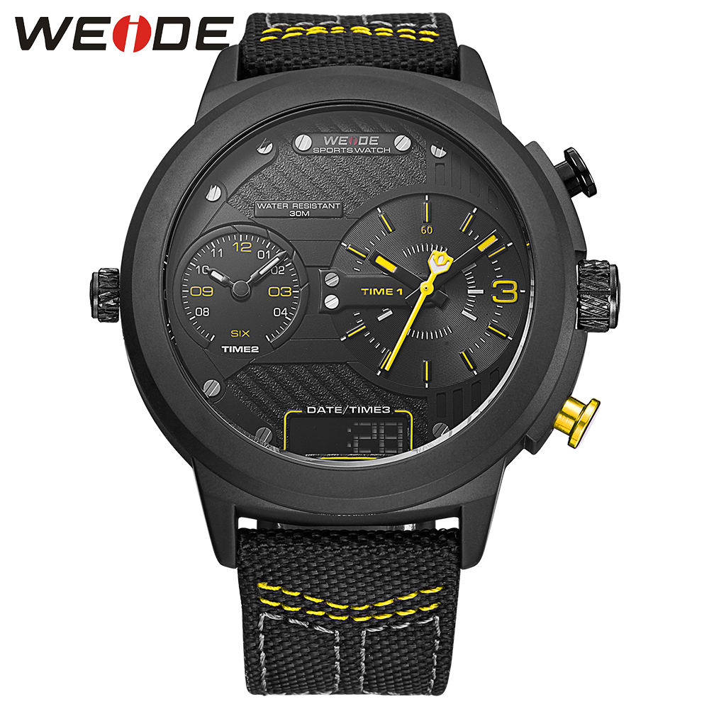 WEIDE luxury brand new watch sport digital Nylon strap Black round large dial LCD men quartz automatic watch waterproof analog weide watches men luxury sports lcd digital alarm military watch nylon strap big dial 3atm analog led display men s quartz watch