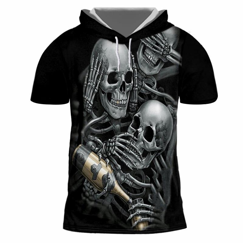 735fbfa870d5 UJWI Summer Top Men Tshirts With Hood Print Skeleton Skull Champagne 3D T- shirt Homme Hip Hop Short Sleeve Hooded Hoody Shirts