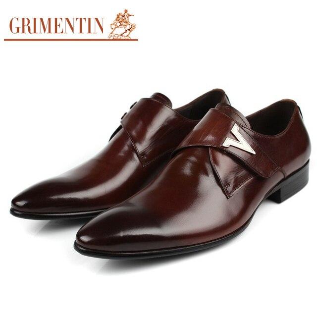 4559940e9 GRIMENTIN العلامة التجارية الفاخرة رجل أحذية الحفلات جلد طبيعي مريحة أزياء  الرجال اللباس أحذية 2018