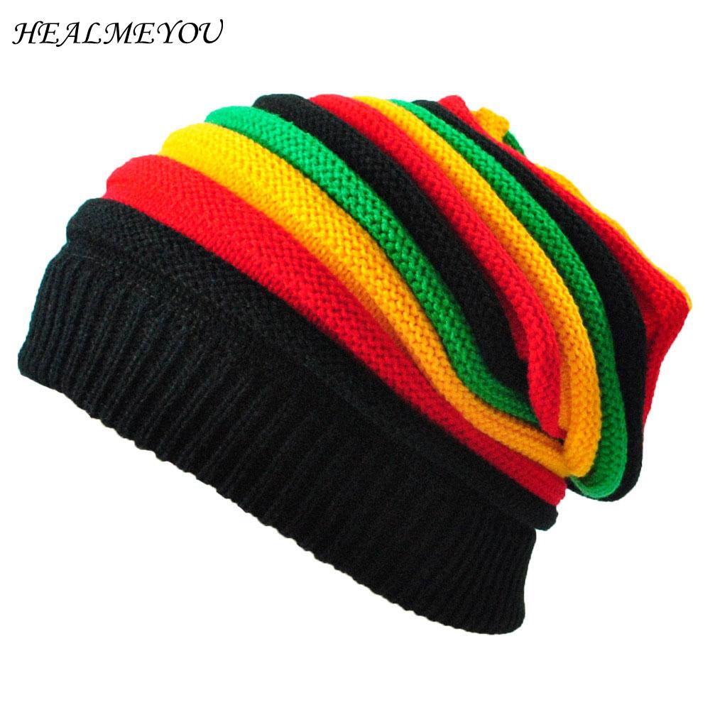 Jamaica Reggae Gorro Rasta Style Cappello Hip Pop Mens Winter Hats Female Red Yellow Green Black Fall Fashion Womens Knit Cap