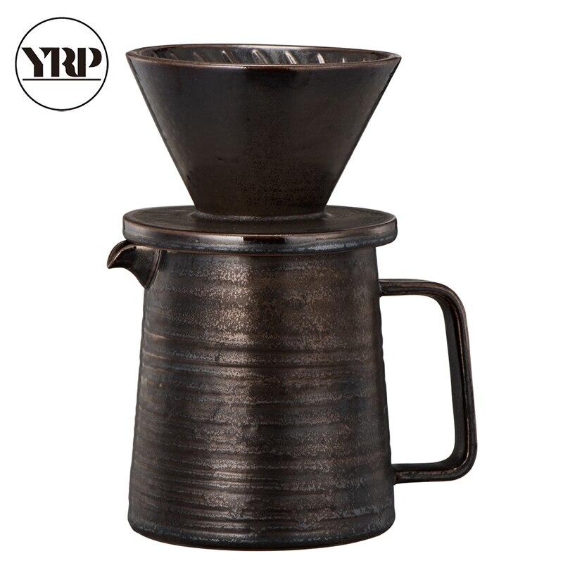 YRP Retro 1 Pc 360ml Heat Resistant Ceramic Coffee Pot Coffee Percolators Gift For Friends Brown Coffee Utensils FX-005