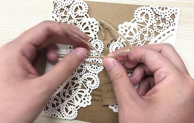 Wit Rustiek Huwelijksuitnodiging Kaarten, Aangepaste Kraft - Feestversiering en feestartikelen - Foto 4