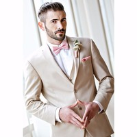 Champagne Mens Suits Wedding Groom Slim Fit Men Dress Suit Custom Notch Lapel Two Buttons (Blazer+Pants+Vest)K582