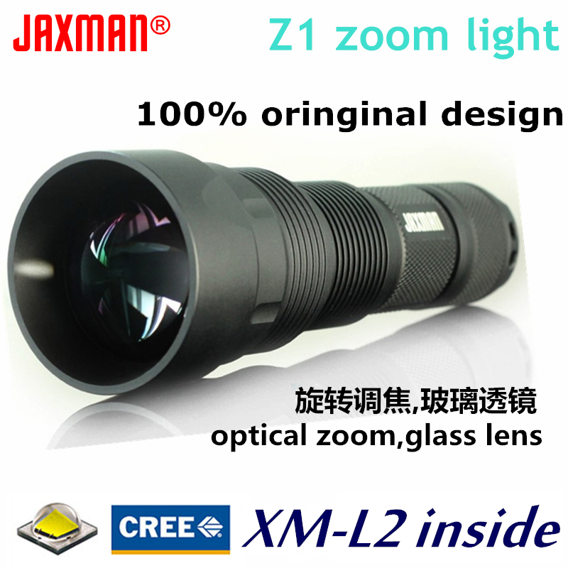 JAXMAN Z1 Turning Optical Zoom Flashlight Torch with AR Coating Glass Lense CREE XML2 26650 flahligth