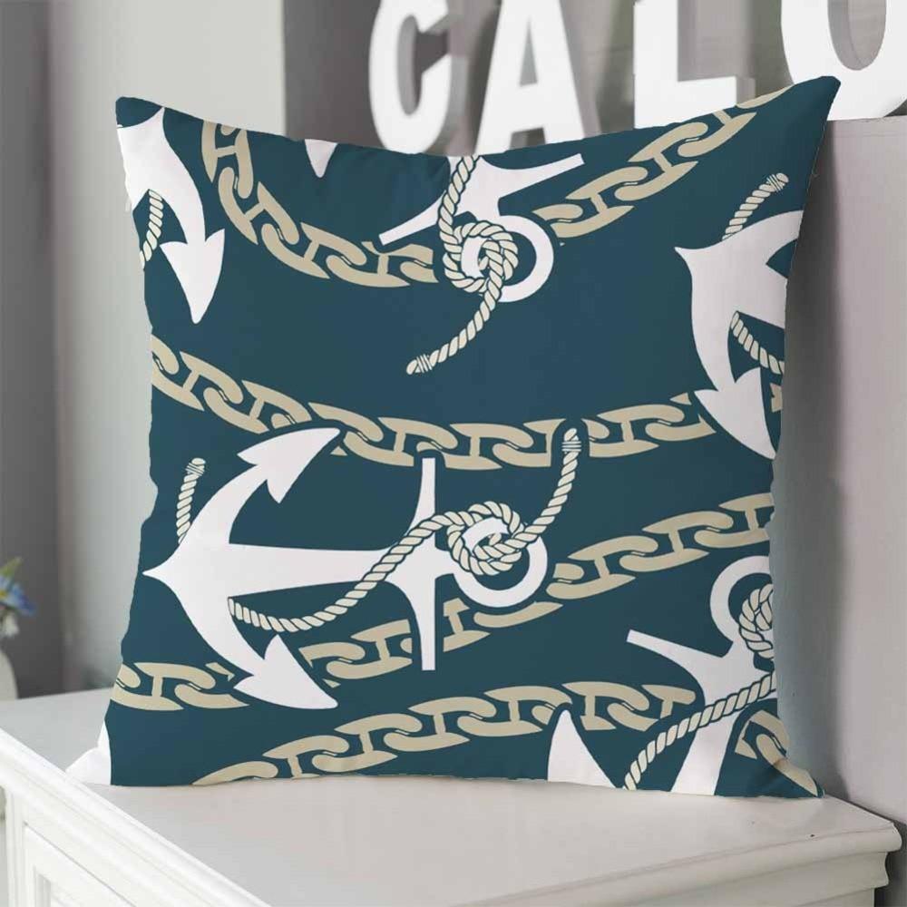 Navigation Navy Blue Cushion Cover Marine Nautical Shell Linen Pillow Sofa Car Seat Pad Home Bed Decoration Pillowcase