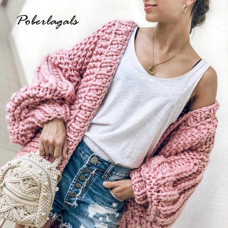 가을 겨울 코트 스웨터 순수한 손으로 만든 두꺼운 바늘 뜨개질 스타일링 퍼프 슬리브 느슨한 게으른 카디건 스웨터 여성 자켓