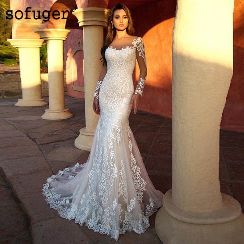Great Lace Mermaid Lace Up Back Wedding Dress Bridal Long Sleeves Robe De Mariee Sofuge Boho Dubai Arabic Abiti Da Sposa